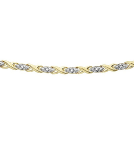 10K Yellow Gold (0.10ct) Hugs and Kisses Diamond Bracelet