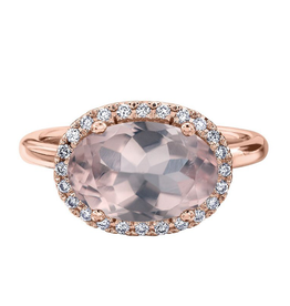 Rose Gold and Rose Quartz Diamond Ring