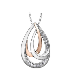 Sterling Silver and 10K Rose Gold (0.08ct) Diamond Teardrop Pendant