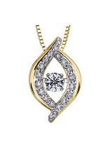 Yellow & White Gold (0.20ct) Dancing Diamond Pendant