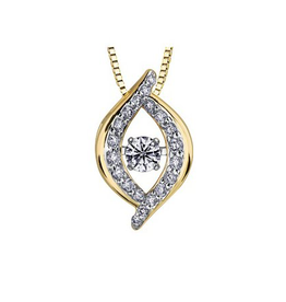 Yellow Gold (0.20ct) Dancing Diamond Pendant