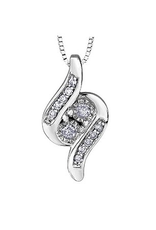 10K White Gold (0.09ct) Together Forever Diamond Pendant