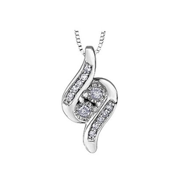 10K White Gold (0.09ct) Diamond Together Forever Pendant