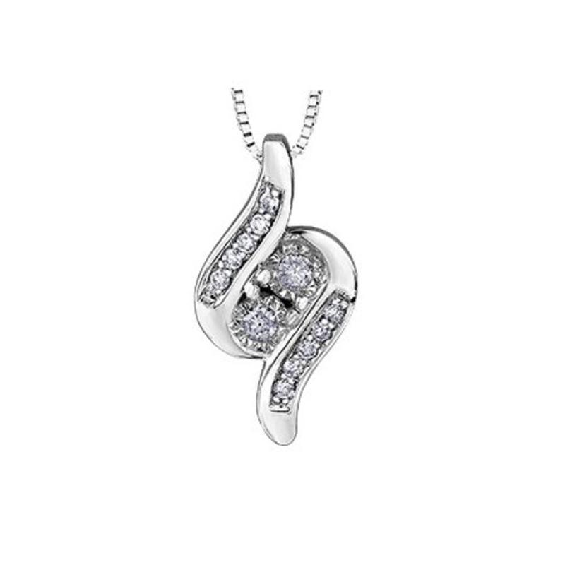 10K White Gold (0.09ct) Diamond Together Forever Pendant