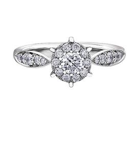 14K White Gold Cluster Diamond Ring (0.55ct)