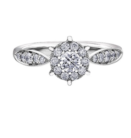 14K White Gold Cluster Diamond Ring (0.55cttw)