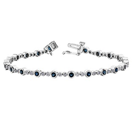 White Gold Sapphire and Diamond Tennis Bracelet