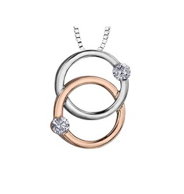 White and Rose Gold Together Forever Double Circle Diamond Pendant