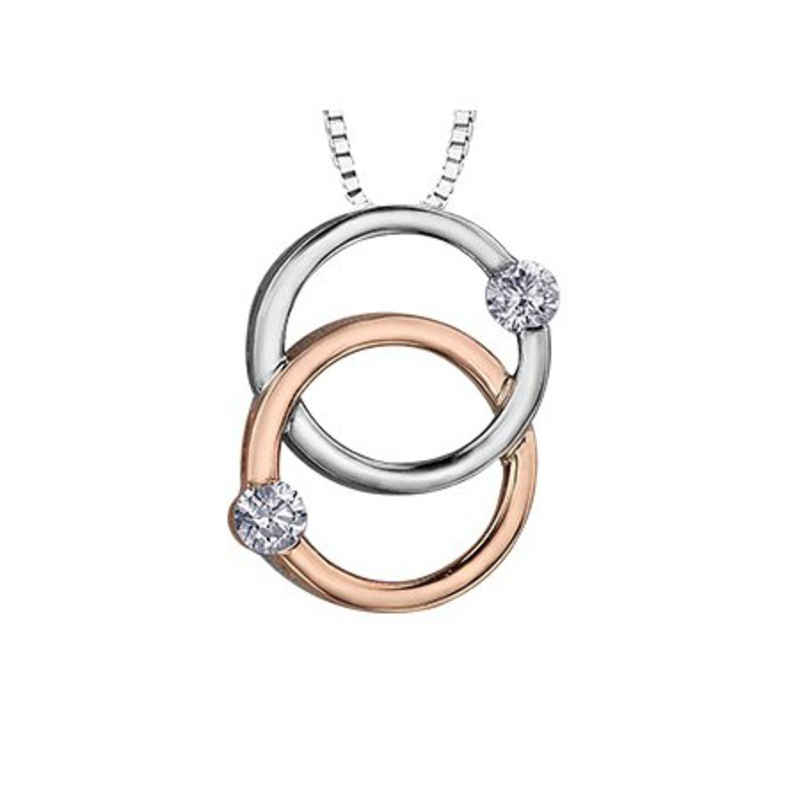 10K White and Rose Gold (0.15ct) Diamond Together Forever Pendant