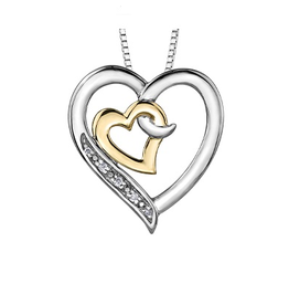 Silver & Yellow Gold (0.02ct) Diamond Double Heart Pendant