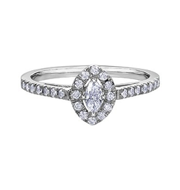 14K White Gold (0.33ct) Marquee Shaped Diamond Halo Ring