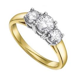 Three Stones (0.75ct) Diamond Yellow Gold Ring