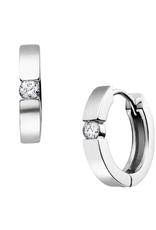 10K White Gold (0.05ct) Diamond Huggie Hoop Earrings