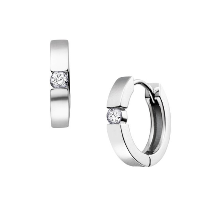 10K White Gold (0.10ct) Diamond Huggie Hoop Earrings
