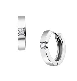 10K White Gold (0.40ct) Diamond Hoop Huggie Earrings