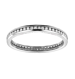 14K White Gold (0.25ct) Channel Set Diamond Stackable Eternity Wedding Band