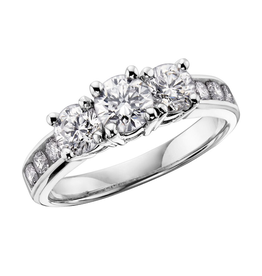 14K Three Stones (0.25ct) Diamonds White Gold Ring