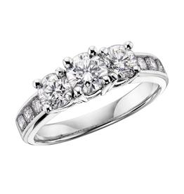 14K Three Stones (0.75ct) Diamonds White Gold Ring