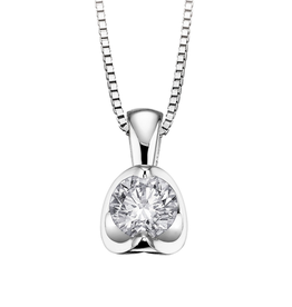 Half Moon Diamond Pendant (0.50ct) 18K White Gold