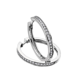 10K White Gold (0.75ct) Diamond Hoop Earrings