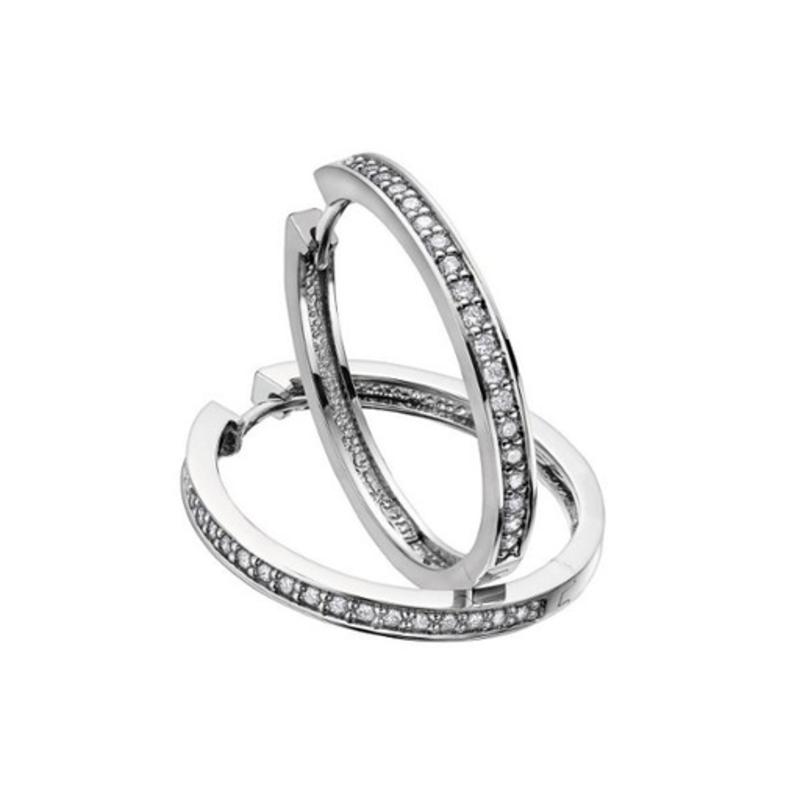 10K White Gold (0.75ct) Diamond Hoop Earrings