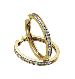 10K Yellow Gold (0.75ct) Diamond Hoop Earrings