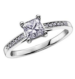 Princess Cut (0.56ct) Diamond 18K White Gold Ring