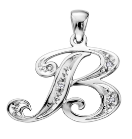 Initial B White Gold Diamond Pendant