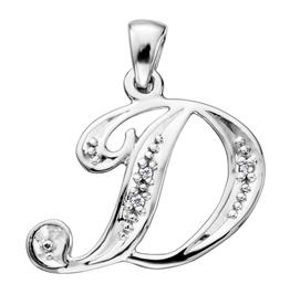 Initial D White Gold Diamond Pendant