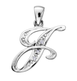 Initial J White Gold Diamond Pendant