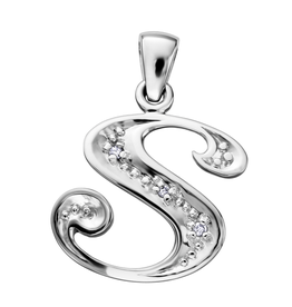 Initial S White Gold Diamond Pendant