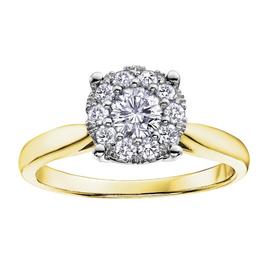 10K Yellow Gold (0.08ct) Starburst Cluster Diamond Ring