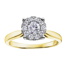 14K Yellow Gold (0.35ct) Cluster Diamond Engagement Ring