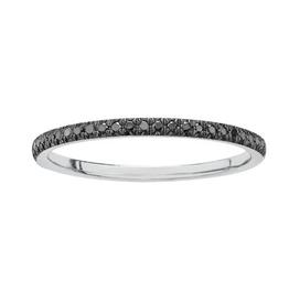 10K White Gold (0.10ct) Black Diamonds Stackable Wedding Band