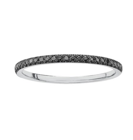 10K White Gold Band with Black Diamonds (0.10ct)