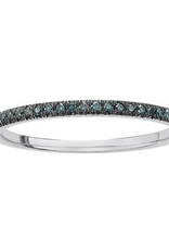 10K White Gold (0.10ct) Blue Diamonds Stackable Wedding Band