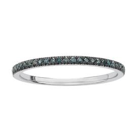 10K White Gold (0.10ct) Blue Diamond Band