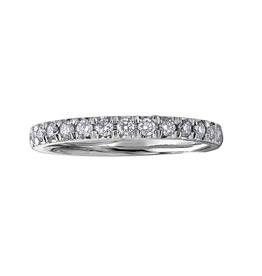 10K White Gold (0.15ct) Pavee Set Diamond Stackable Wedding Band
