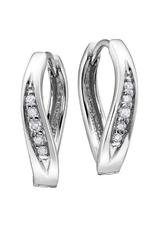 10K White Gold (0.06ct) Diamond Hoop Earrings