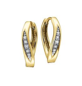 10K Yellow Gold (0.12ct) Diamond Huggie Hoop Earrings