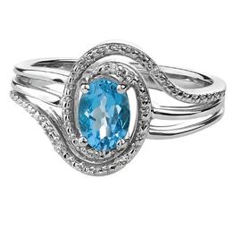 Blue Topaz & Diamond Ring Sterling Silver (December Birthstone)