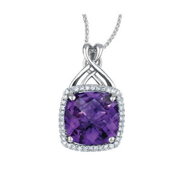 Amethyst & Diamond White Gold Pendant