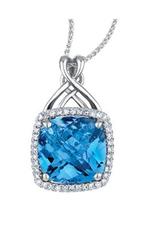 10K White Gold Blue Topaz and Diamond Pendant