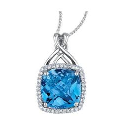 White Gold Blue Topaz and Diamond Pendant