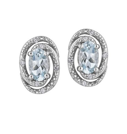 Aquamarine (March) Sterling Silver and Diamond Earrings