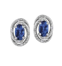 Sapphire (September) and Diamond Earrings