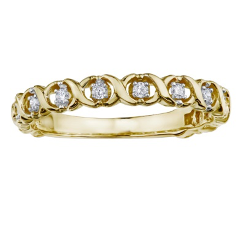 Yellow Gold (0.09ct) Diamond Stackable Band