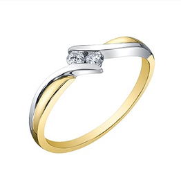 10K Two Tone Yellow and White Gold (0.10ct) Diamond Perfect Together Promise Ring