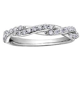 10K White Gold (0.33ct) Diamond Stackable Wedding Band