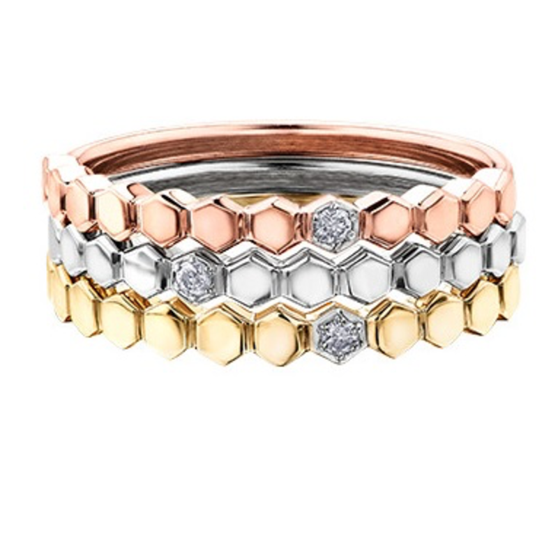 Yellow Gold (0.015ct) Diamond Stackable Band